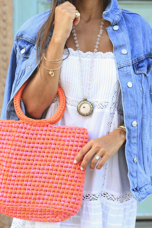 White Slip Dress, Knit Bag, & Go-To Summer Sandals 1