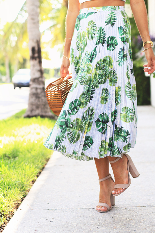 Pleated Palm Print Skirt 6