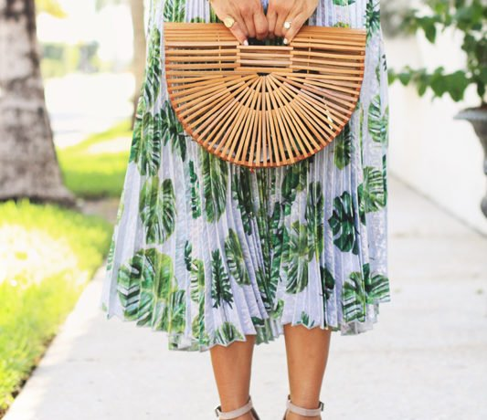 Pleated Palm Print Skirt