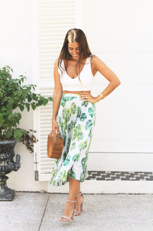 Pleated Palm Print Skirt 1