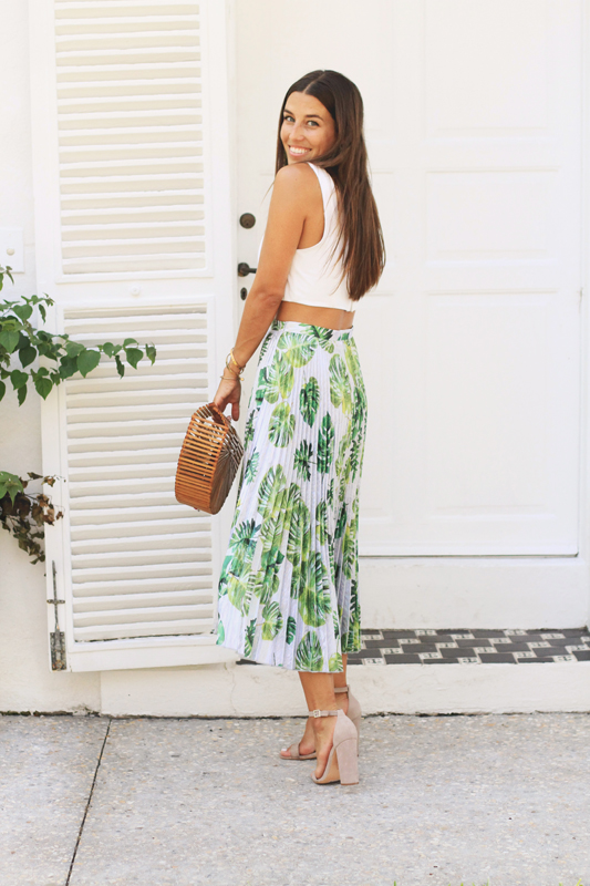 Pleated Palm Print Skirt 2