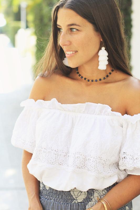 Misa Blue Skirt & White Crop Top