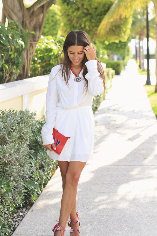Little White Dress & Red Sandals